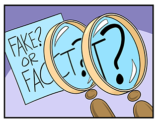Image depicts magnifying glass being used to magnify another magnifying glass that is highlighting the words 'fake or fact.'