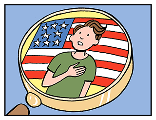 Cartoon image depicts a magnifying glass showing someone reading the pledge of allegiance.