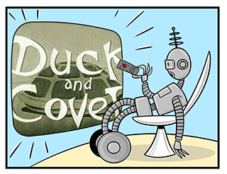 Image of robot watching 'Duck and Cover'