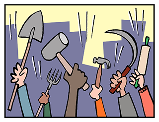 Image depicts a mob waving weapons, including hammer and sickle and shovel.
