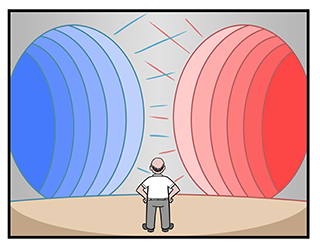 Image depicts man confronted with two echo chambers: one tinted red (conservative) and one tinted blue (liberal).